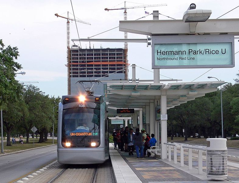 Houston MetroRail station near Hermann Park