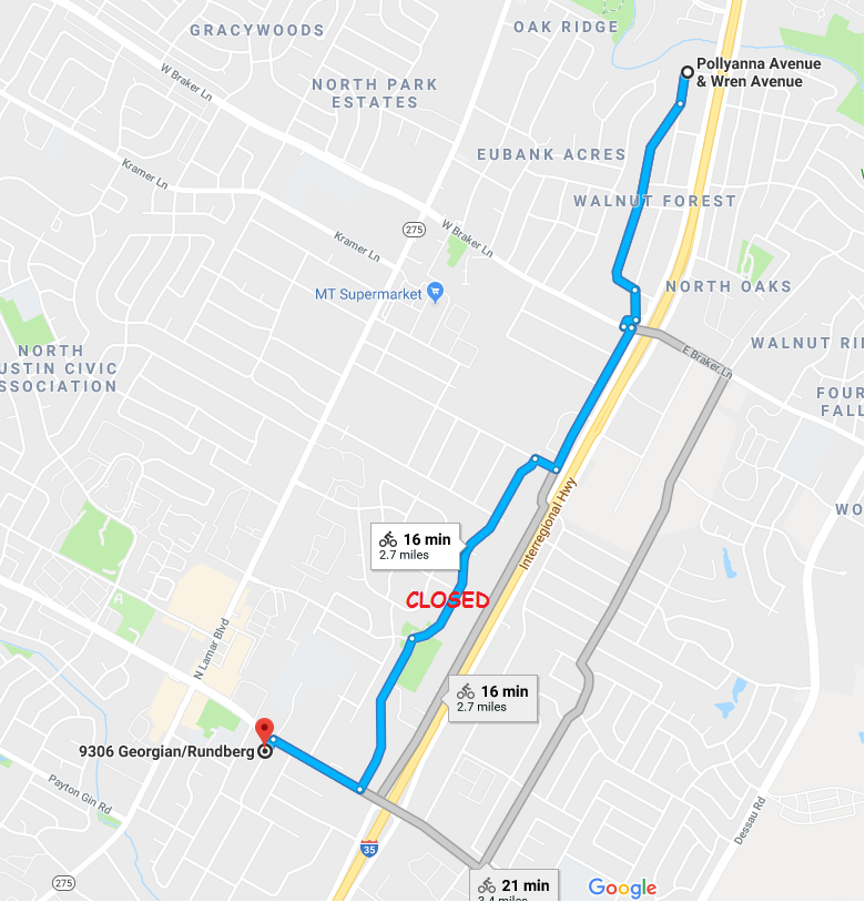 annotated google map showing closed section of road